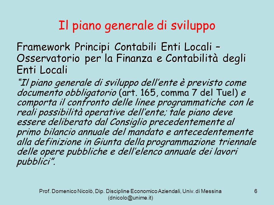 Prof. Domenico Nicolò, Dip. Discipline Economico Aziendali, Univ. di Messina (dnicolo@unime.it) 6 Il piano generale di sviluppo Framework Principi Con