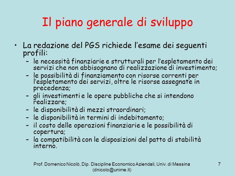 Prof. Domenico Nicolò, Dip. Discipline Economico Aziendali, Univ. di Messina (dnicolo@unime.it) 7 Il piano generale di sviluppo La redazione del PGS r