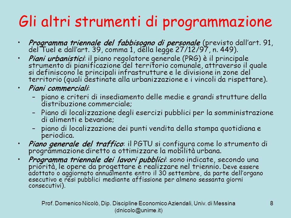 Prof. Domenico Nicolò, Dip. Discipline Economico Aziendali, Univ. di Messina (dnicolo@unime.it) 8 Gli altri strumenti di programmazione Programma trie