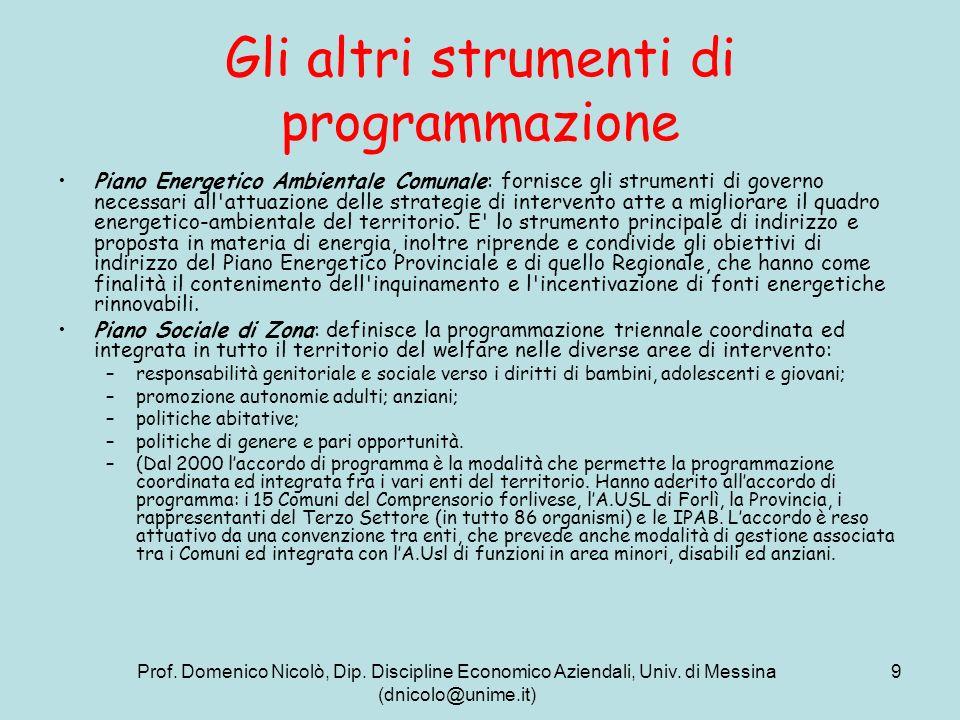 Prof. Domenico Nicolò, Dip. Discipline Economico Aziendali, Univ. di Messina (dnicolo@unime.it) 9 Gli altri strumenti di programmazione Piano Energeti