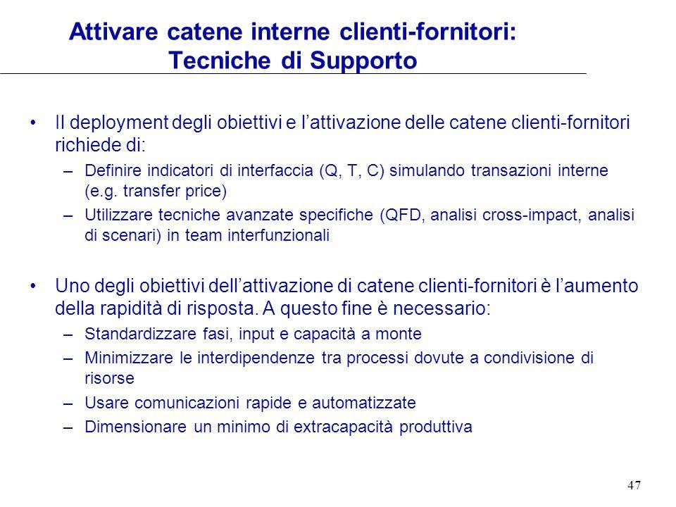 47 Attivare catene interne clienti-fornitori: Tecniche di Supporto Il deployment degli obiettivi e lattivazione delle catene clienti-fornitori richied