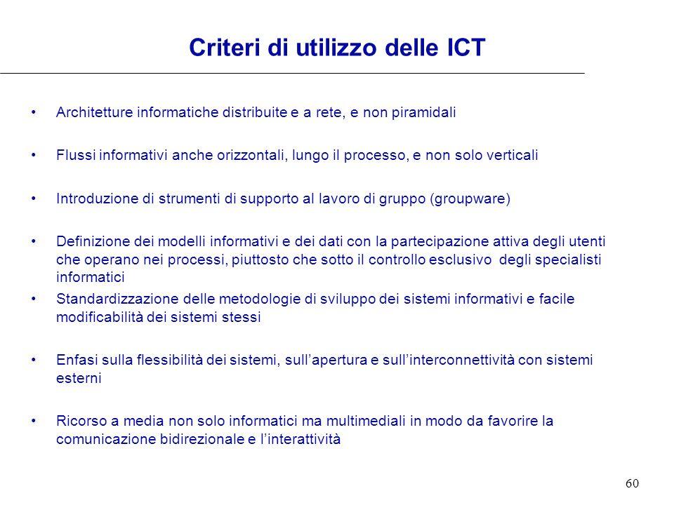 60 Criteri di utilizzo delle ICT Architetture informatiche distribuite e a rete, e non piramidali Flussi informativi anche orizzontali, lungo il proce