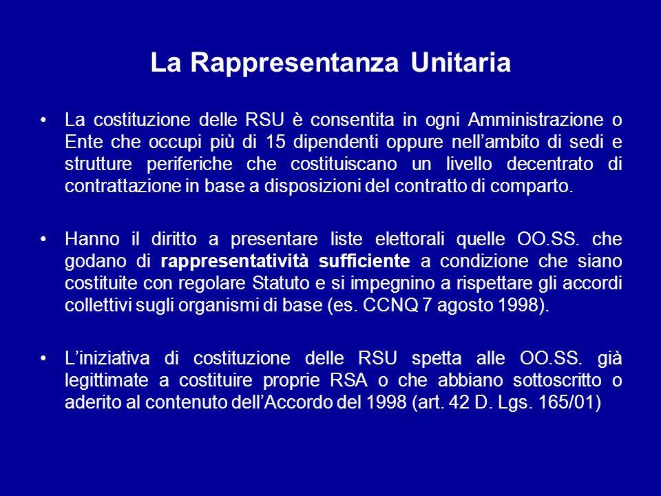 La Rappresentanza Unitaria La costituzione delle RSU è consentita in ogni Amministrazione o Ente che occupi più di 15 dipendenti oppure nellambito di