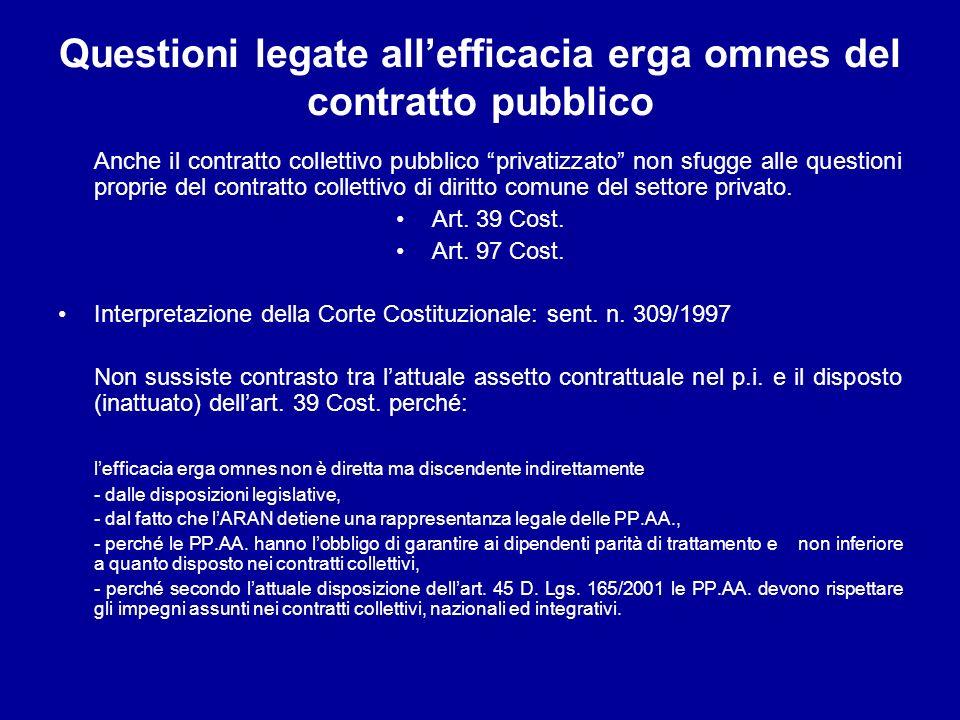 Questioni legate allefficacia erga omnes del contratto pubblico Anche il contratto collettivo pubblico privatizzato non sfugge alle questioni proprie