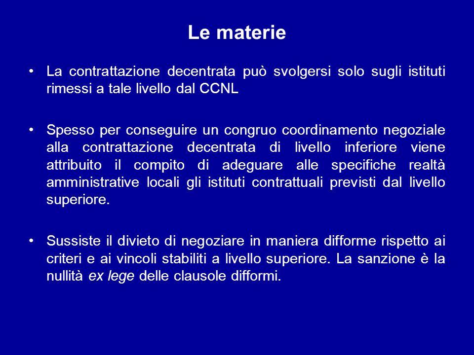 Le materie La contrattazione decentrata può svolgersi solo sugli istituti rimessi a tale livello dal CCNL Spesso per conseguire un congruo coordinamen