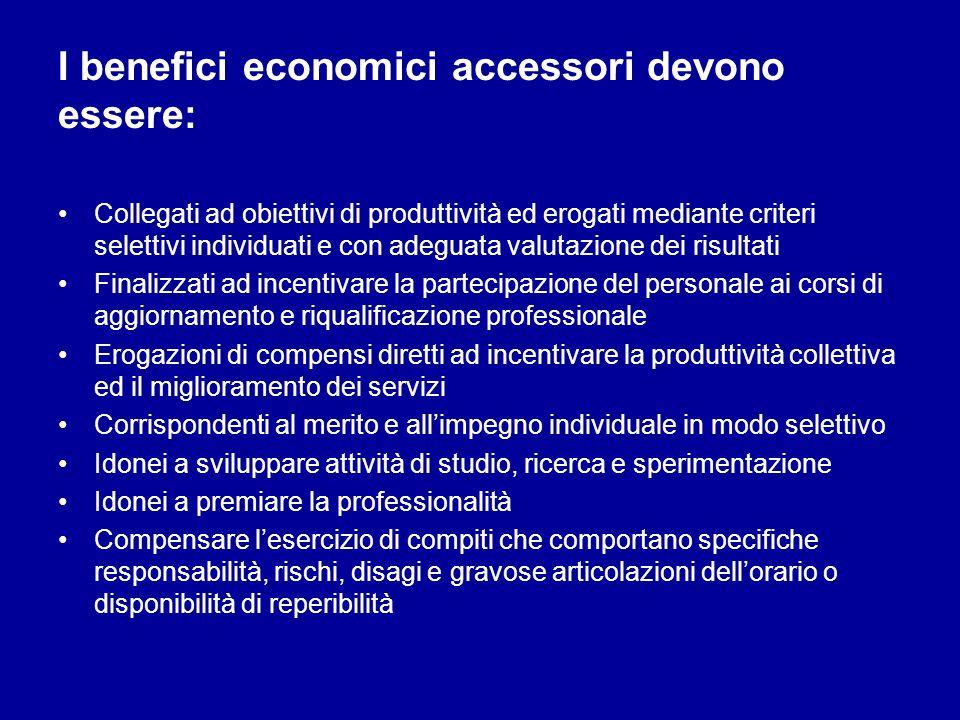 I benefici economici accessori devono essere: Collegati ad obiettivi di produttività ed erogati mediante criteri selettivi individuati e con adeguata