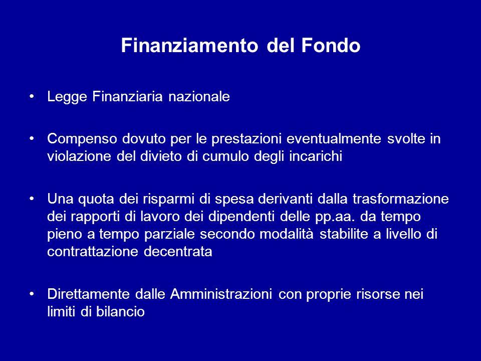 Finanziamento del Fondo Legge Finanziaria nazionale Compenso dovuto per le prestazioni eventualmente svolte in violazione del divieto di cumulo degli