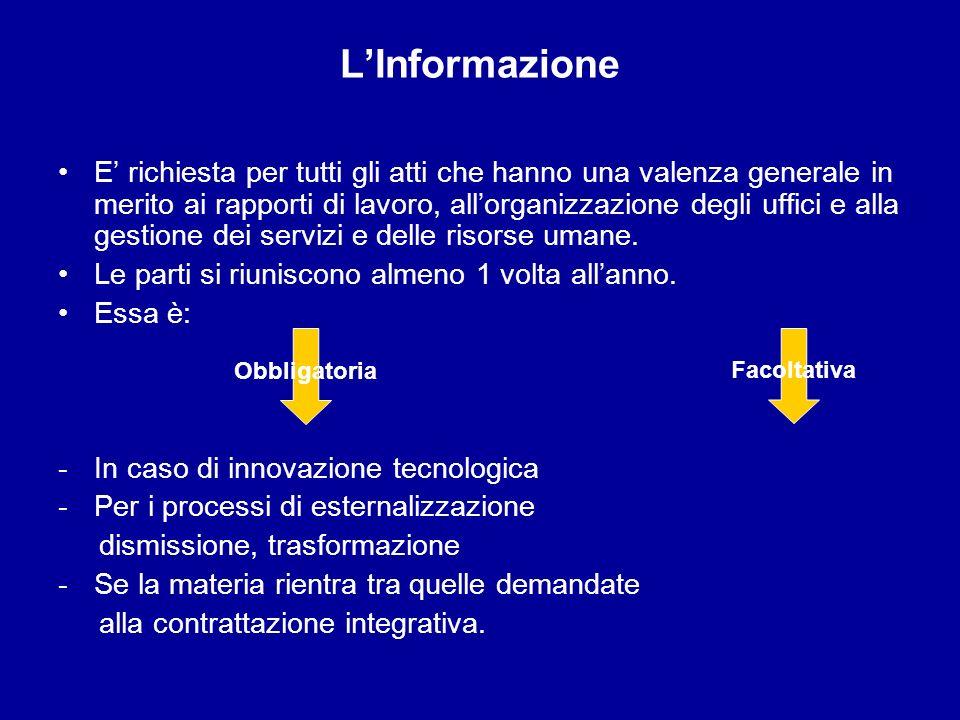 LInformazione E richiesta per tutti gli atti che hanno una valenza generale in merito ai rapporti di lavoro, allorganizzazione degli uffici e alla ges