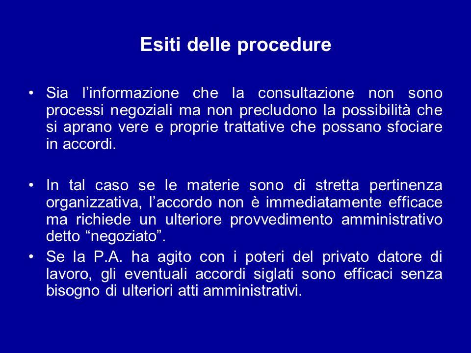 Esiti delle procedure Sia linformazione che la consultazione non sono processi negoziali ma non precludono la possibilità che si aprano vere e proprie