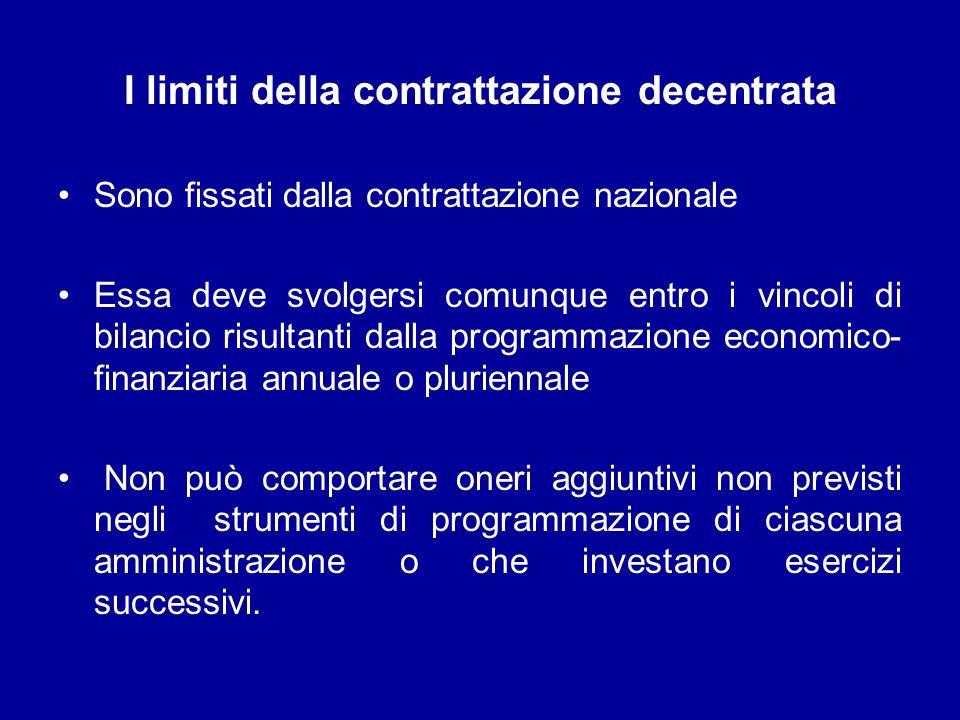 I limiti della contrattazione decentrata Sono fissati dalla contrattazione nazionale Essa deve svolgersi comunque entro i vincoli di bilancio risultan