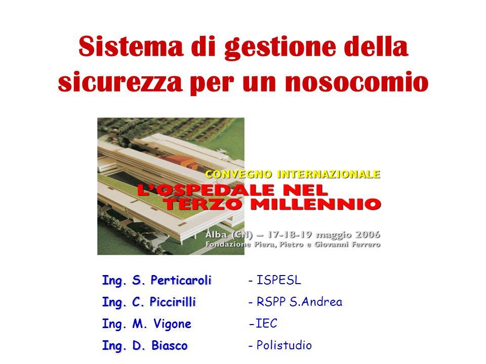 Sistema di gestione della sicurezza per un nosocomio Ing. S. Perticaroli Ing. S. Perticaroli- ISPESL Ing. C. Piccirilli Ing. C. Piccirilli- RSPP S.And