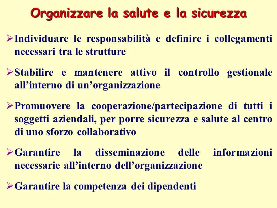 Organizzare la salute e la sicurezza Individuare le responsabilità e definire i collegamenti necessari tra le strutture Stabilire e mantenere attivo i