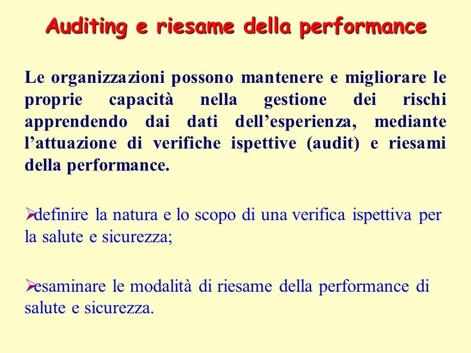 Auditing e riesame della performance Le organizzazioni possono mantenere e migliorare le proprie capacità nella gestione dei rischi apprendendo dai da