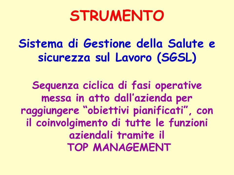 STRUMENTO Sistema di Gestione della Salute e sicurezza sul Lavoro (SGSL) Sequenza ciclica di fasi operative messa in atto dallazienda per raggiungere