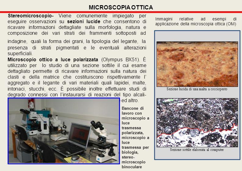Stereomicroscopio- Viene comunemente impiegato per eseguire osservazioni su sezioni lucide che consentono di ricavare informazioni dettagliate sulla m