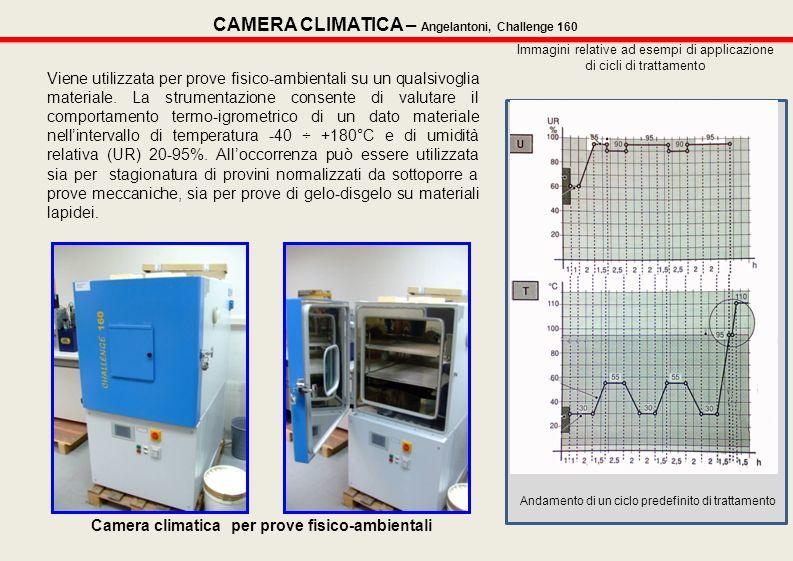 Viene utilizzata per prove fisico-ambientali su un qualsivoglia materiale. La strumentazione consente di valutare il comportamento termo-igrometrico d