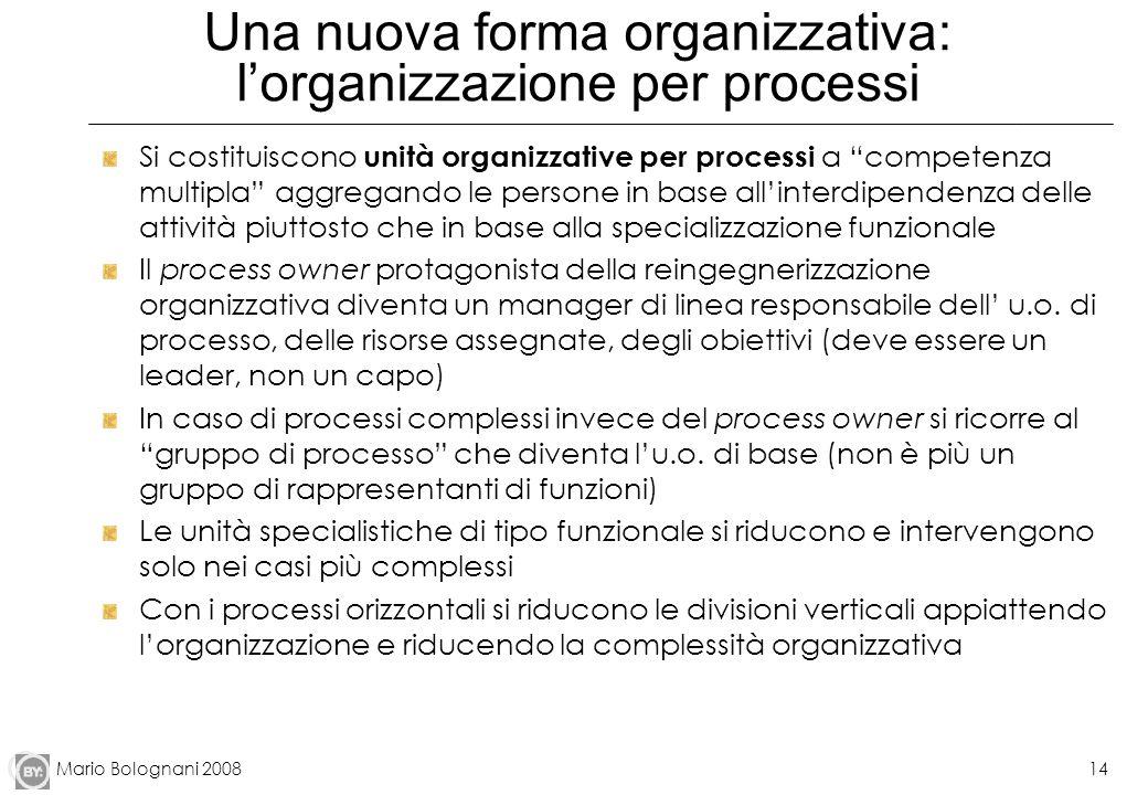 Mario Bolognani 200814 Una nuova forma organizzativa: lorganizzazione per processi Si costituiscono unità organizzative per processi a competenza mult