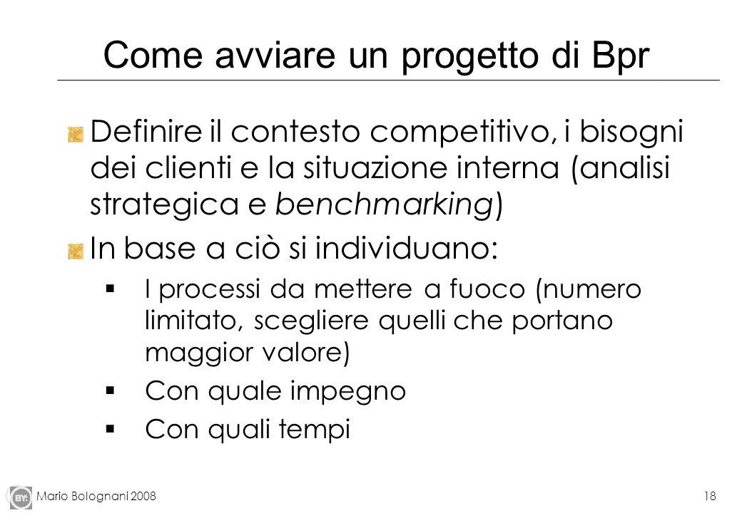 Mario Bolognani 200818 Come avviare un progetto di Bpr Definire il contesto competitivo, i bisogni dei clienti e la situazione interna (analisi strate