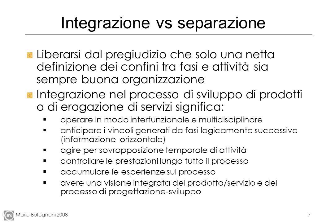Mario Bolognani 20087 Integrazione vs separazione Liberarsi dal pregiudizio che solo una netta definizione dei confini tra fasi e attività sia sempre
