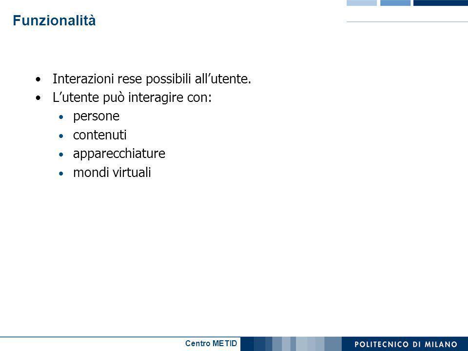 Centro METID Funzionalità Interazioni rese possibili allutente. Lutente può interagire con: persone contenuti apparecchiature mondi virtuali