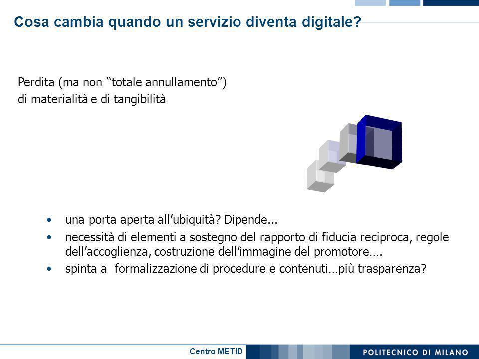 Centro METID Cosa cambia quando un servizio diventa digitale? Perdita (ma non totale annullamento) di materialità e di tangibilità una porta aperta al