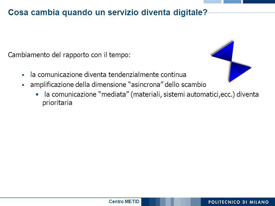 Centro METID Cosa cambia quando un servizio diventa digitale? Cambiamento del rapporto con il tempo: la comunicazione diventa tendenzialmente continua
