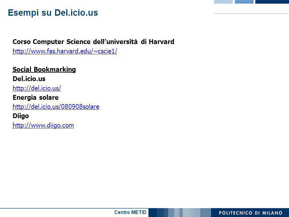 Centro METID Corso Computer Science delluniversità di Harvard http://www.fas.harvard.edu/~cscie1/ Social Bookmarking Del.icio.us http://del.icio.us/ Energia solare http://del.icio.us/080908solare Diigo http://www.diigo.com Esempi su Del.icio.us