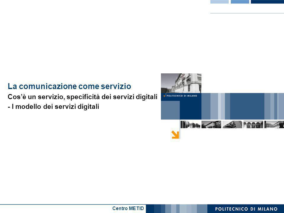 Centro METID La comunicazione come servizio Cosè un servizio, specificità dei servizi digitali - I modello dei servizi digitali