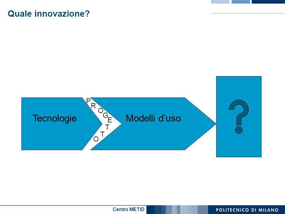 Centro METID Quale innovazione TecnologieModelli duso a P R O G E T T O