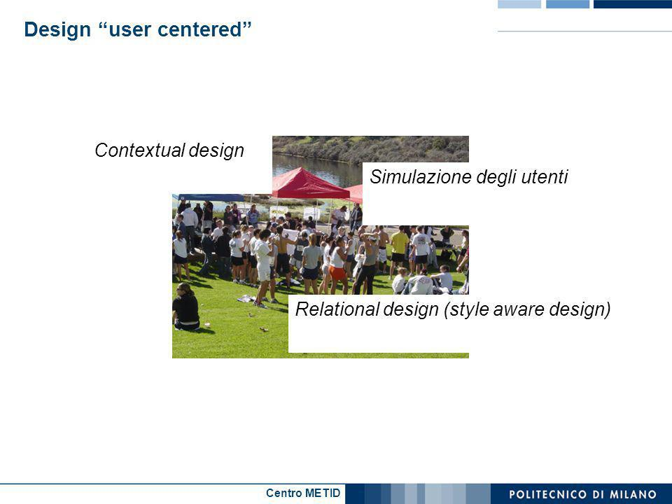 Centro METID Design user centered Simulazione degli utenti Contextual design Relational design (style aware design)