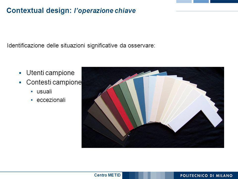Centro METID Contextual design: loperazione chiave Identificazione delle situazioni significative da osservare: Utenti campione Contesti campione usua