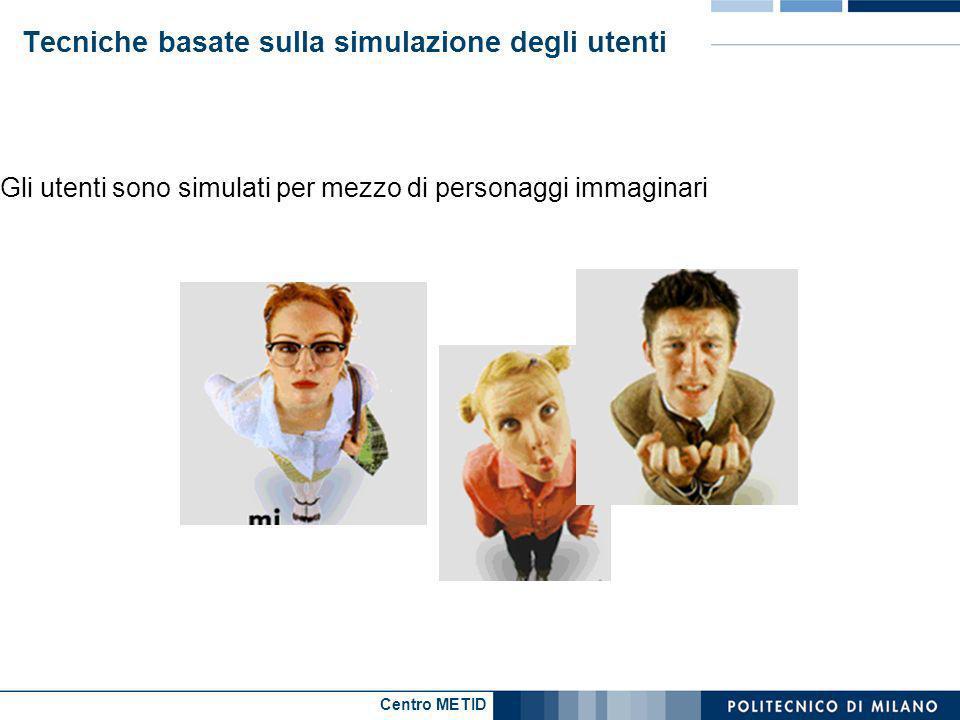 Centro METID Tecniche basate sulla simulazione degli utenti Gli utenti sono simulati per mezzo di personaggi immaginari