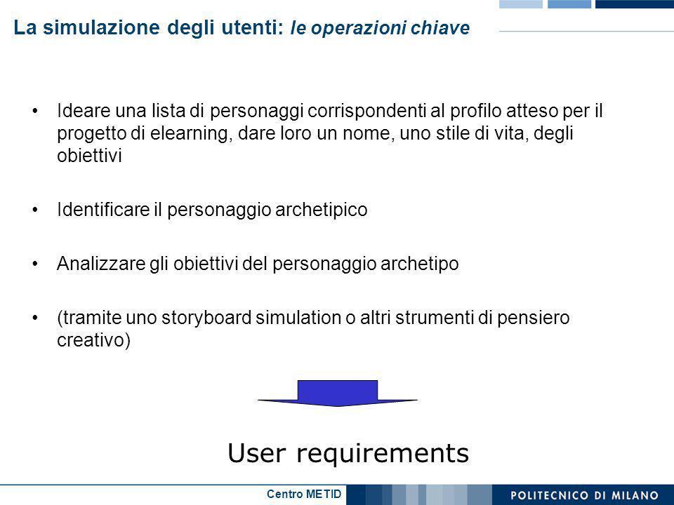 Centro METID La simulazione degli utenti: le operazioni chiave Ideare una lista di personaggi corrispondenti al profilo atteso per il progetto di elea