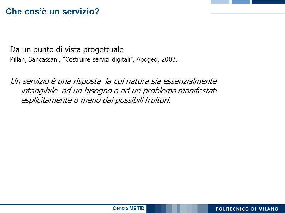 Centro METID Che cosè un servizio? Da un punto di vista progettuale Pillan, Sancassani, Costruire servizi digitali, Apogeo, 2003. Un servizio è una ri