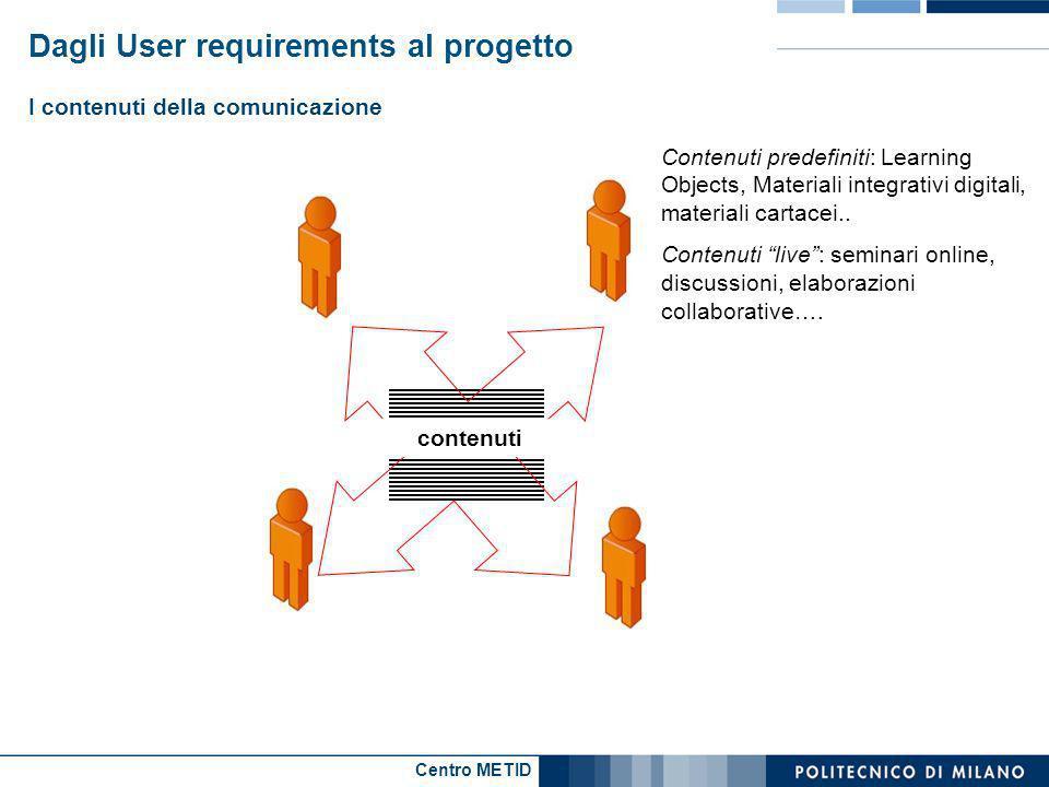 Centro METID Dagli User requirements al progetto I contenuti della comunicazione contenuti Contenuti predefiniti: Learning Objects, Materiali integrativi digitali, materiali cartacei..
