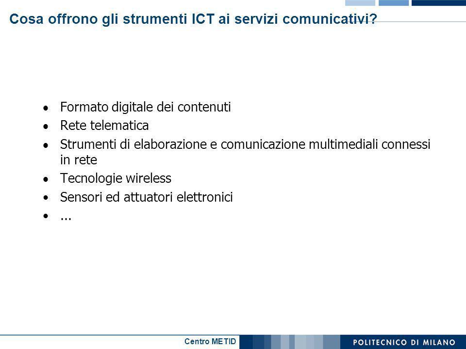 Centro METID Cosa offrono gli strumenti ICT ai servizi comunicativi? Formato digitale dei contenuti Rete telematica Strumenti di elaborazione e comuni