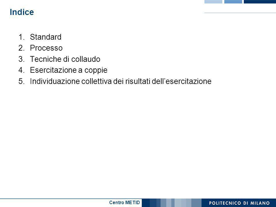 Centro METID Indice 1.Standard 2.Processo 3.Tecniche di collaudo 4.Esercitazione a coppie 5.Individuazione collettiva dei risultati dellesercitazione