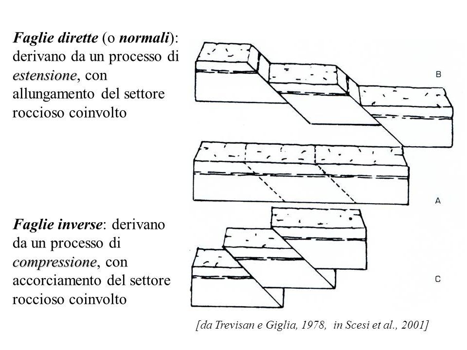 estensione Faglie dirette (o normali): derivano da un processo di estensione, con allungamento del settore roccioso coinvolto compressione Faglie inverse: derivano da un processo di compressione, con accorciamento del settore roccioso coinvolto [da Trevisan e Giglia, 1978, in Scesi et al., 2001]