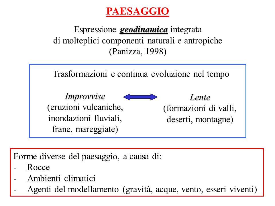 PAESAGGIO geodinamica Espressione geodinamica integrata di molteplici componenti naturali e antropiche (Panizza, 1998) Forme diverse del paesaggio, a