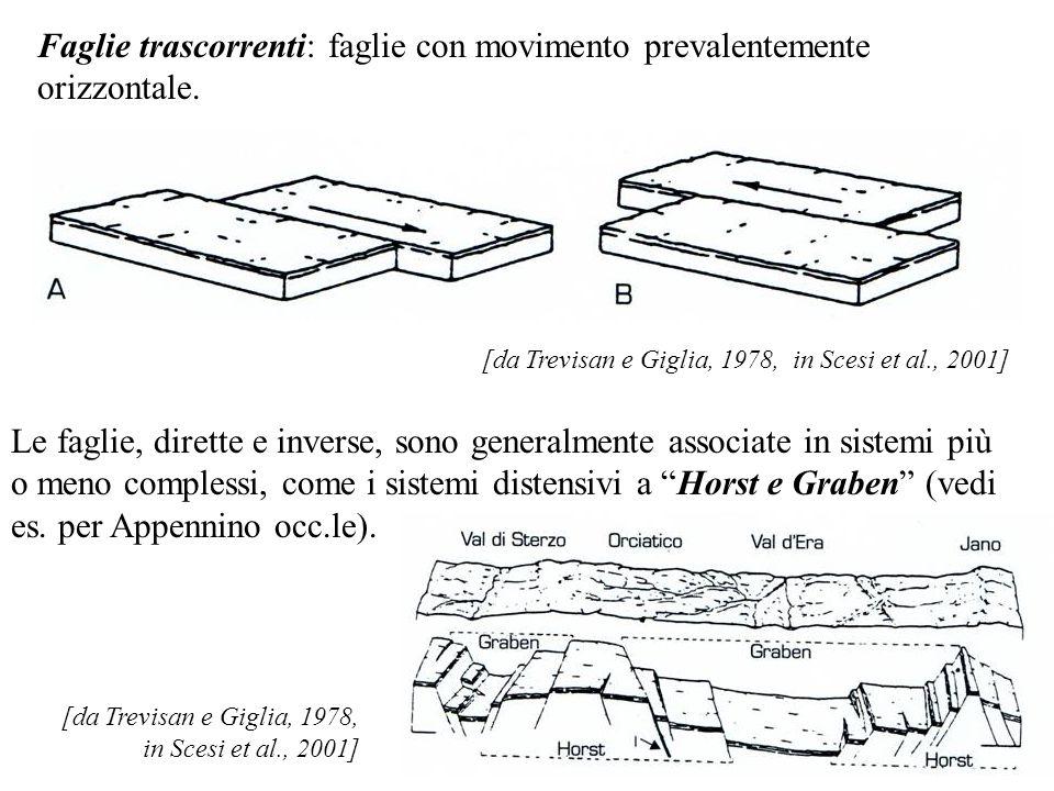 Faglie trascorrenti: faglie con movimento prevalentemente orizzontale. [da Trevisan e Giglia, 1978, in Scesi et al., 2001] Le faglie, dirette e invers