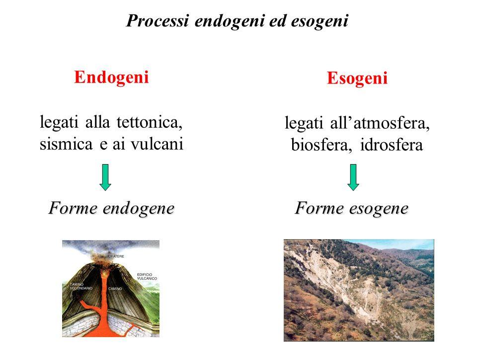 Processi endogeni ed esogeni Esogeni legati allatmosfera, biosfera, idrosfera Endogeni legati alla tettonica, sismica e ai vulcani Forme endogene Forme esogene