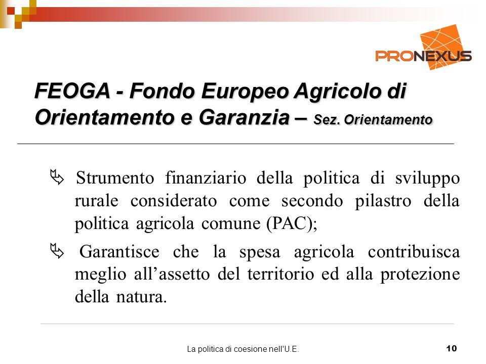 La politica di coesione nell U.E.10 FEOGA - Fondo Europeo Agricolo di Orientamento e Garanzia – Sez.