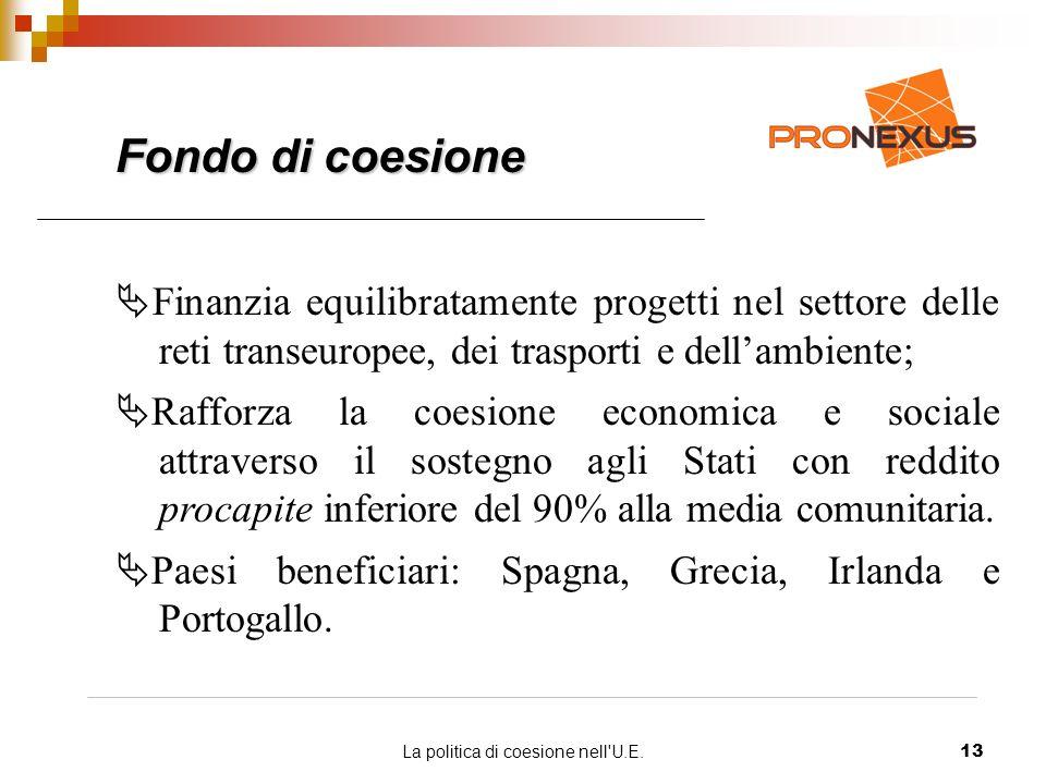 La politica di coesione nell U.E.13 Fondo di coesione Finanzia equilibratamente progetti nel settore delle reti transeuropee, dei trasporti e dellambiente; Rafforza la coesione economica e sociale attraverso il sostegno agli Stati con reddito procapite inferiore del 90% alla media comunitaria.