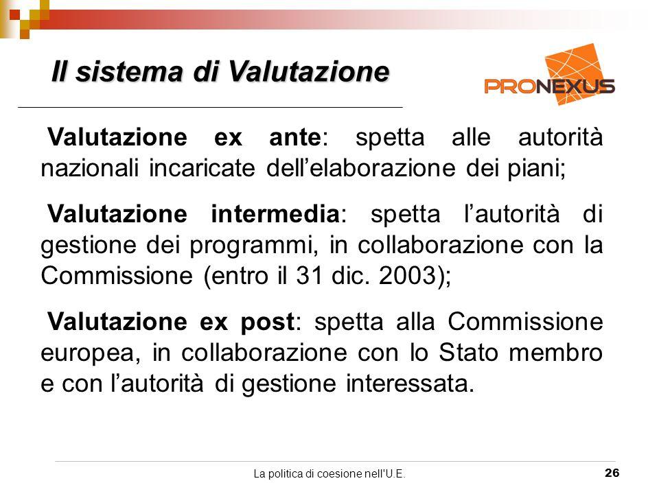 La politica di coesione nell U.E.26 Valutazione ex ante: spetta alle autorità nazionali incaricate dellelaborazione dei piani; Valutazione intermedia: spetta lautorità di gestione dei programmi, in collaborazione con la Commissione (entro il 31 dic.