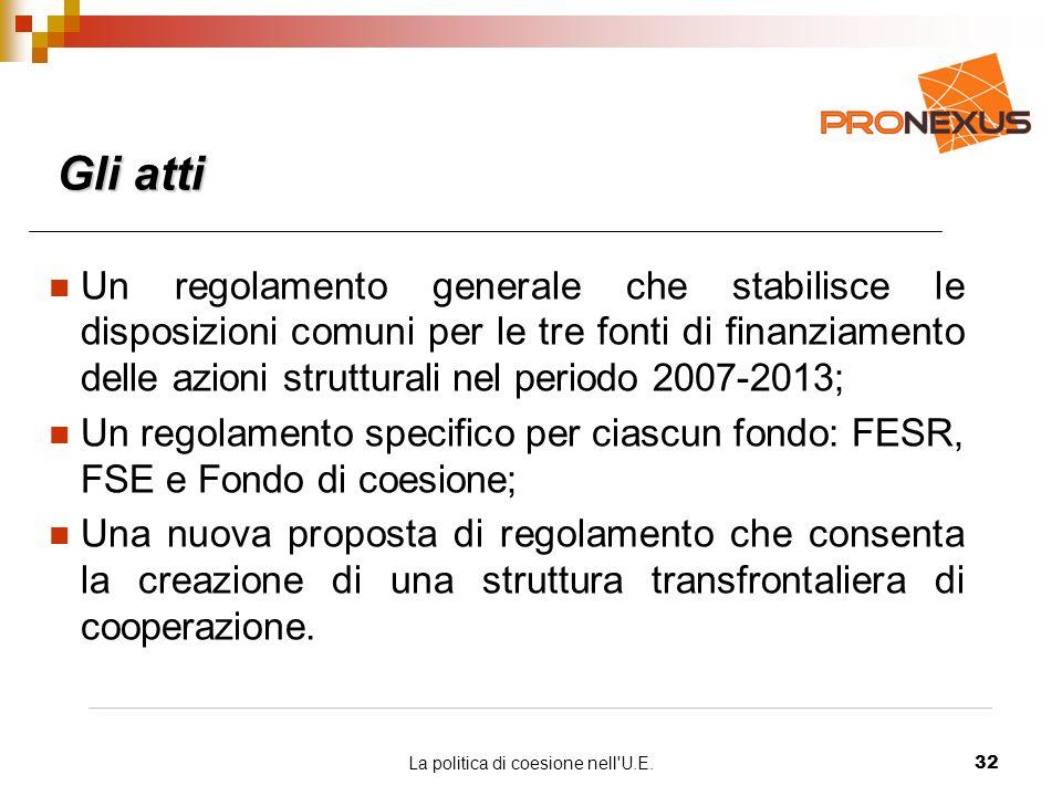 La politica di coesione nell U.E.32 Gli atti Un regolamento generale che stabilisce le disposizioni comuni per le tre fonti di finanziamento delle azioni strutturali nel periodo 2007-2013; Un regolamento specifico per ciascun fondo: FESR, FSE e Fondo di coesione; Una nuova proposta di regolamento che consenta la creazione di una struttura transfrontaliera di cooperazione.