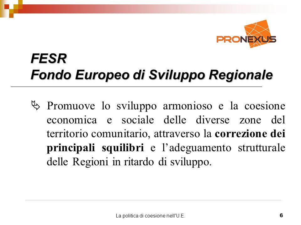 La politica di coesione nell U.E.6 FESR Fondo Europeo di Sviluppo Regionale Promuove lo sviluppo armonioso e la coesione economica e sociale delle diverse zone del territorio comunitario, attraverso la correzione dei principali squilibri e ladeguamento strutturale delle Regioni in ritardo di sviluppo.