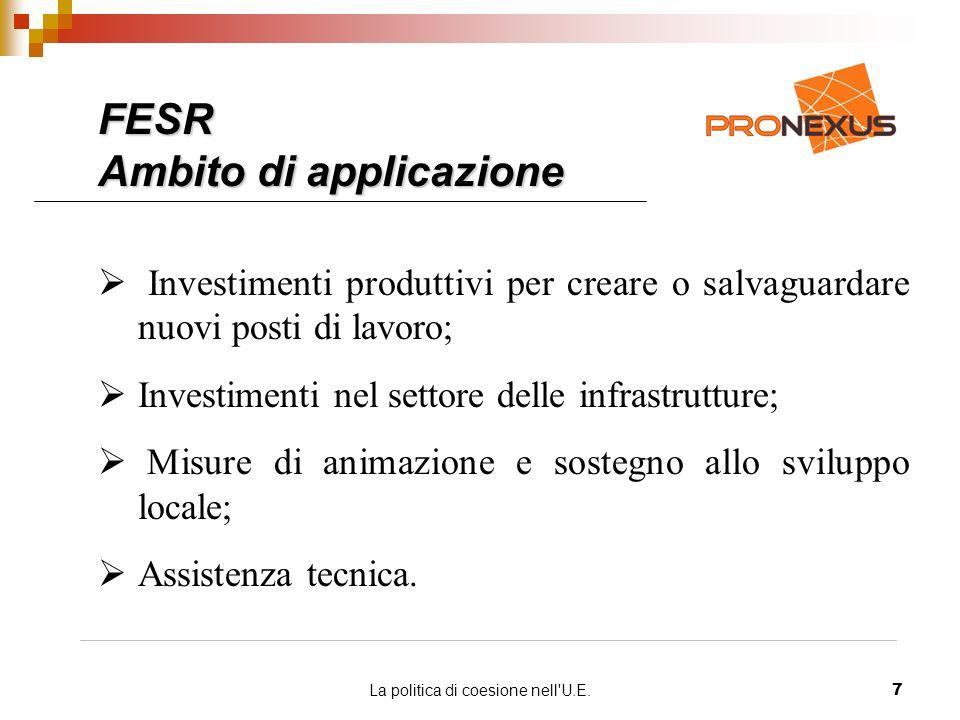La politica di coesione nell U.E.7 Investimenti produttivi per creare o salvaguardare nuovi posti di lavoro; Investimenti nel settore delle infrastrutture; Misure di animazione e sostegno allo sviluppo locale; Assistenza tecnica.