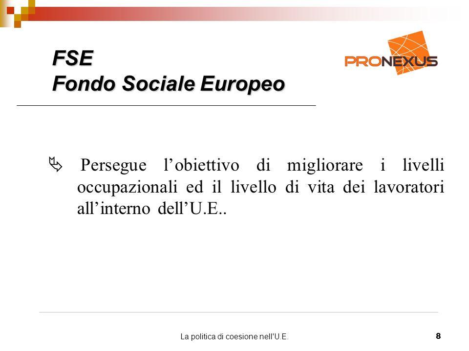 La politica di coesione nell U.E.8 FSE Fondo Sociale Europeo Persegue lobiettivo di migliorare i livelli occupazionali ed il livello di vita dei lavoratori allinterno dellU.E..