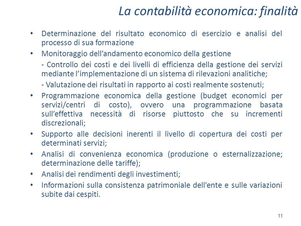 La contabilità economica: finalità 11 Determinazione del risultato economico di esercizio e analisi del processo di sua formazione Monitoraggio dellan