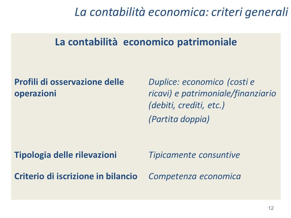La contabilità economica: criteri generali 12 La contabilità economico patrimoniale Profili di osservazione delle operazioni Duplice: economico (costi